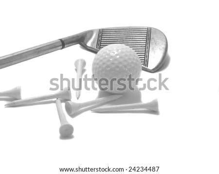 A golf club with wooden tees and ball in black and white. - stock photo