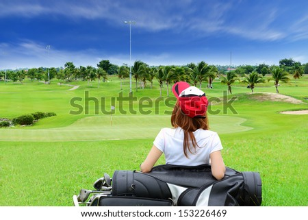 A golf course comprises a series of holes, each consisting of a teeing ground, a fairway, the rough and other hazards, and a green with a flagstick  and hole, all designed for the game of golf - stock photo