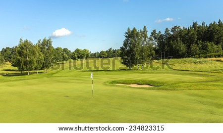 A golf course green with trees surrounding it and a blue sky.