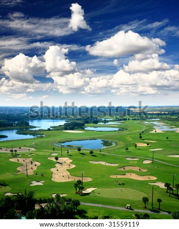 A golf course resort in the United States of America - stock photo