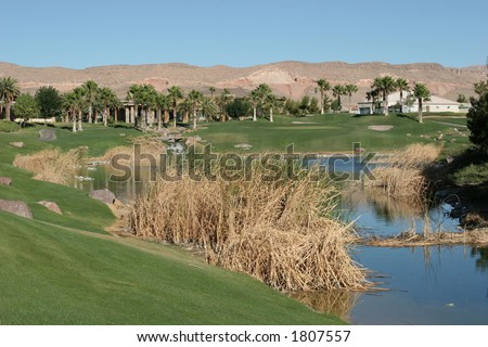 A golf course view in Las Vegas, Nevada - stock photo