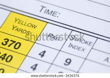 A golf scorecard in extreme closeup - stock photo