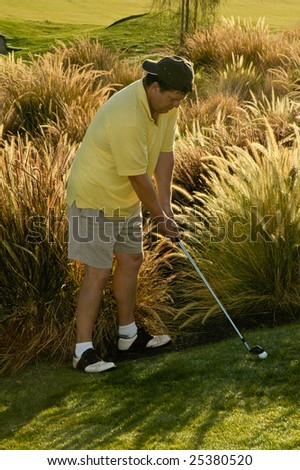 A golfer faced with a difficult fairway shot. - stock photo