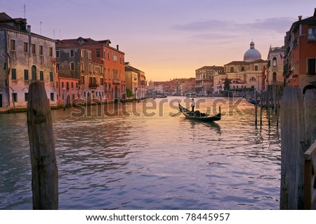 A Gondola on Grand Canal, Venice, Italy. - stock photo