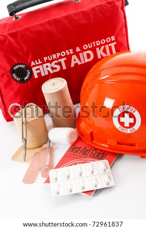 A good First-Aid kit stocked with essential elements is an important part of safety and emergency preparedness - stock photo