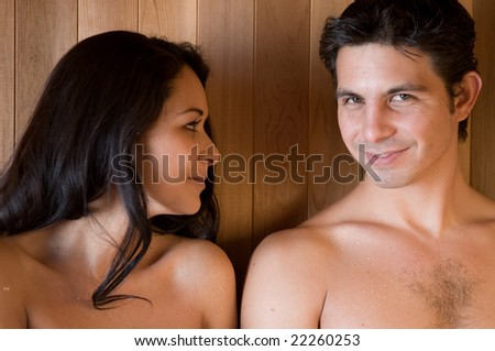 A good looking couple in love during a day at the Spa. - stock photo
