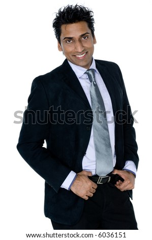 A good-looking Indian businessman in suit on white background