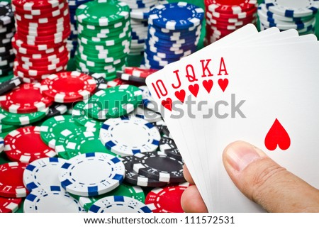 A good poker hand with royal flush
