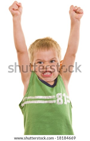 A gorgeous little cute three year old with his arms in the air and a cute facial expression, isolated on white.