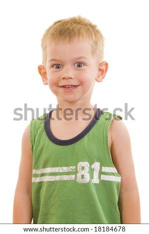 A gorgeous little cute three year old with various facial expressions, isolated on white. - stock photo