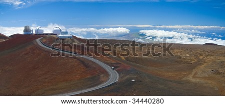 A gorgeous panorama of the summit of the Mauna Kea volcano in Hawaii Big Island. - stock photo