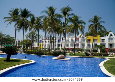 A gorgeous tropical resort in El Salvador - stock photo
