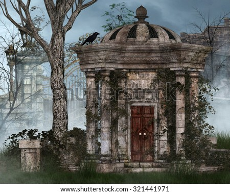 A gothic background with mausoleum and raven. - stock photo