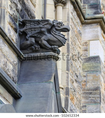 A Gothic Looking Gargoyle At The Parliament Building In Ottawa Canada