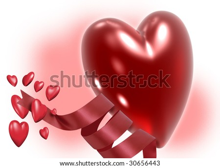 A goup of red heart shapes and red ribbon on a textured background.