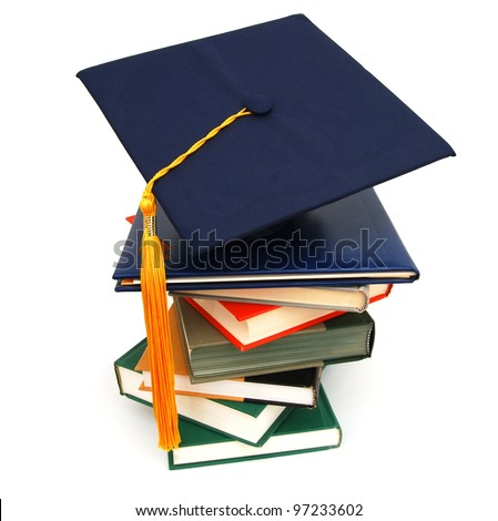 A graduating diploma school - stock photo