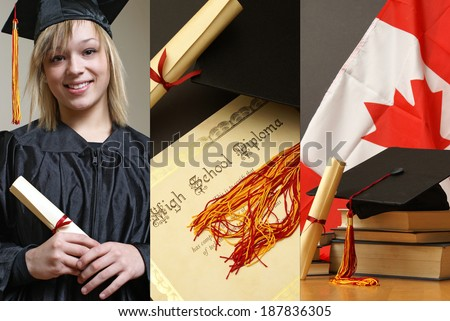A graduation collage of a student of success. - stock photo