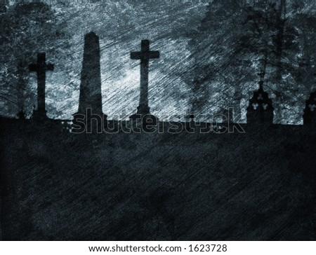 A grainy and gritty illustration of a graveyard. - stock photo