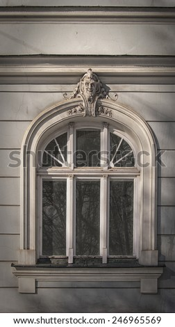 A grand window on a grand building in the gamla stan district of Riga in Latvia. - stock photo