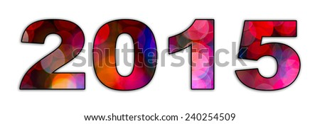 A graphic design of the numbers 2015 symbolizing the new year and a new start. The font is filled with circular colorful blurred, bokeh lights. - stock photo