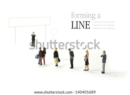 A graphic designer template concept  for a line of people at an airport, immigration desk, passport control, check-in desk etc. Fill in your own decals and add your own copy! - stock photo
