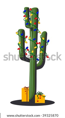 A graphic illustration of a Christmas Cactus Tree.
