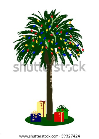 a graphic illustration of a christmas palm tree - Christmas Palm Tree