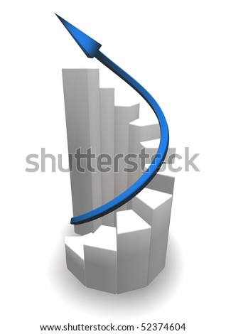 A graphic showing growing chart with arrow - stock photo