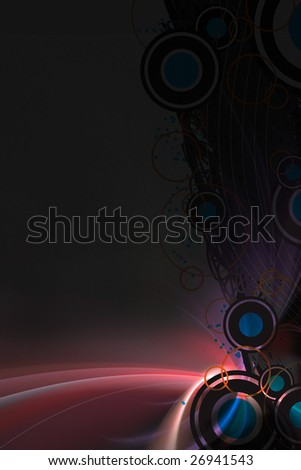 A graphical layout with circular art elements over a glowing fractal background.