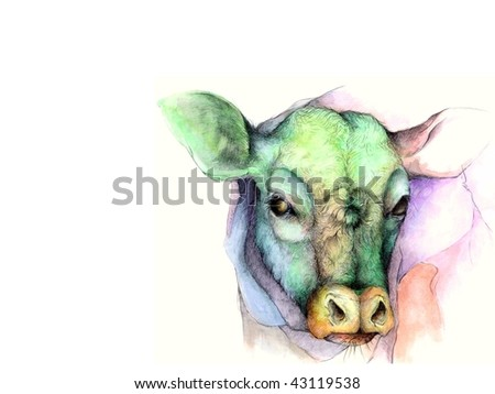 A Graphite and Watercolor Cow Illustration on a White Background - stock photo