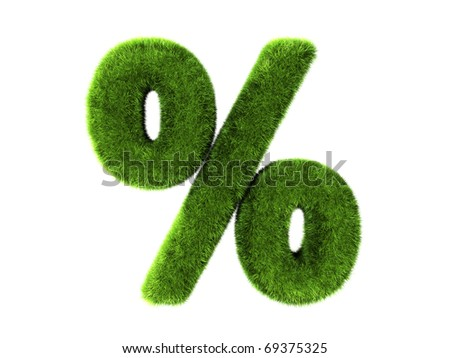 A grass percentage isolated on a white background - stock photo