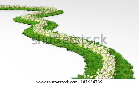 a grassy path made of lawn with white flowers in its center, winds in a white ground