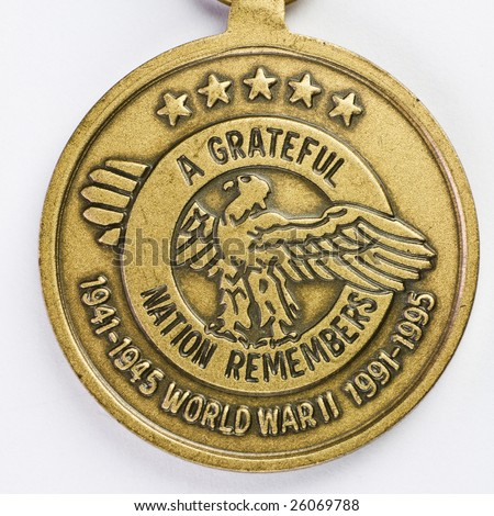 A grateful nation remembers - 50th anniversary of World War II medal - stock photo