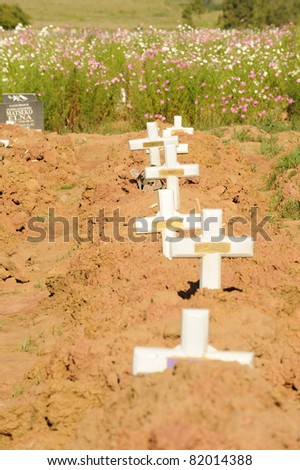 A graveyard in Northern Province, South Africa - stock photo