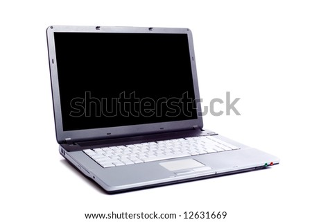 A gray laptop computer on white background with a clipping path for the screen area.