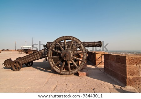 A great cannon at Mehrangarh fort overlooking the city of Jodhpur - stock photo