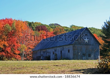 A great looking barn in New England on a cool crisp Autumn day. - stock photo