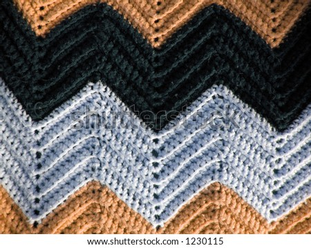 A great pattern of a knitted afghan - just like your grandmother makes. - stock photo