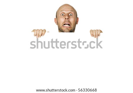 A great portrait of a frightened or scared man. Isolated on white. - stock photo