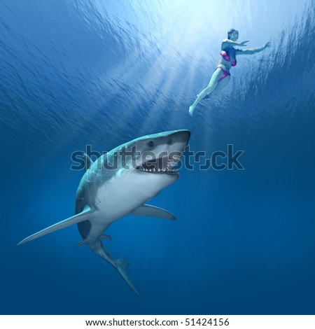 A great white shark closes in on an unsuspecting swimmer - 3D render with digital painting.