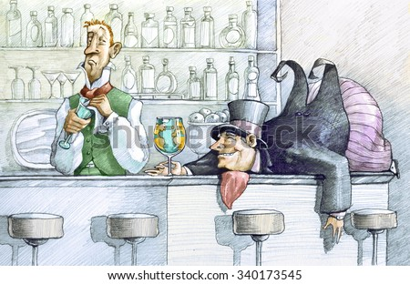 a greedy drunk fat man lying on a bar counter holding a glass globe, the bartender looks at him with undisguised enough - stock photo