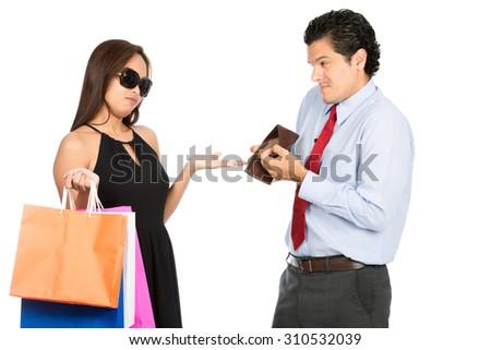 photo greedy shopaholic gold digger stylish asian wife demanding money shopping from poor sympat