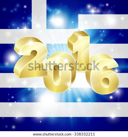 A Greek flag with 2016 coming out of it with fireworks. Concept for New Year or anything exciting happening in Greece in the year 2016. - stock photo