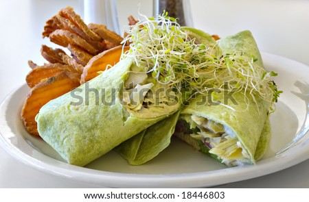 A Greek veggie wrap with hummus, feta cheese, olives and artichoke hearts on a spinach tortilla garnished with sprouts. - stock photo