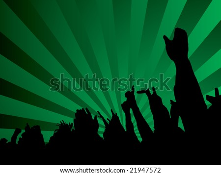 A green abstract background with a silhouette crowd - stock photo