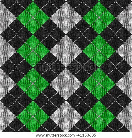A green and black plaid argyle pattern that tiles seamlessly. - stock photo