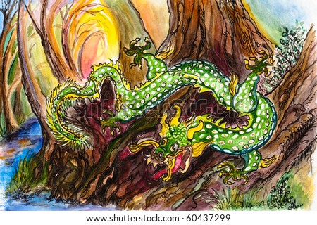 A green and Gold Dragon is Slivering Down a Bank to a Stream in the Woods. The Sun is Rising in the Background.