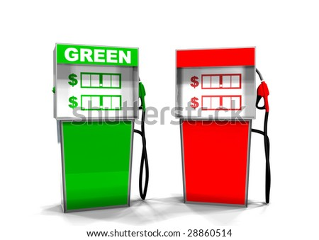A Green and Red Gas Pump - stock photo