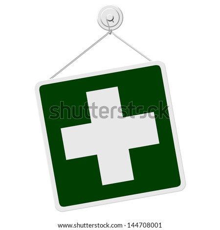 A green and white sign with the First Aid symbol isolated on a white background, First Aid sign