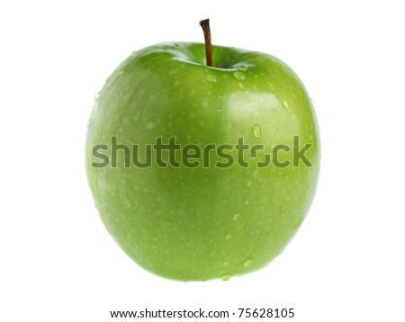 A green apple isolated on white background. - stock photo